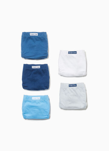 Five-pack 100% cotton briefs with patch