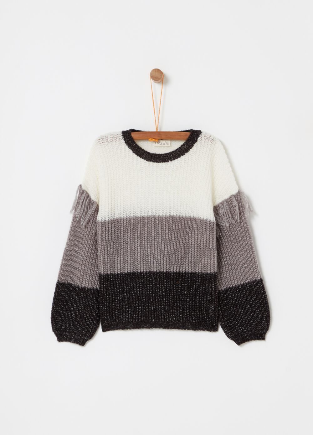 Knitted pullover with striped fringing