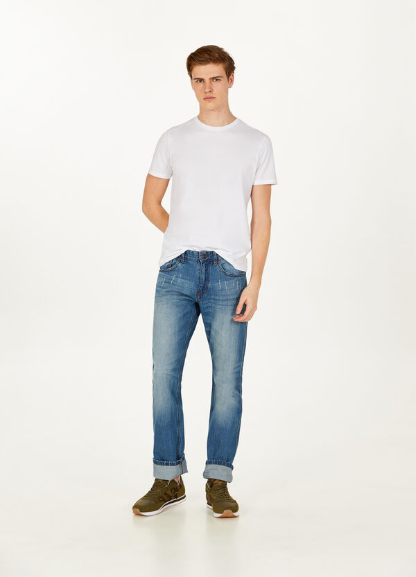 Regular-fit worn-effect jeans with abrasions