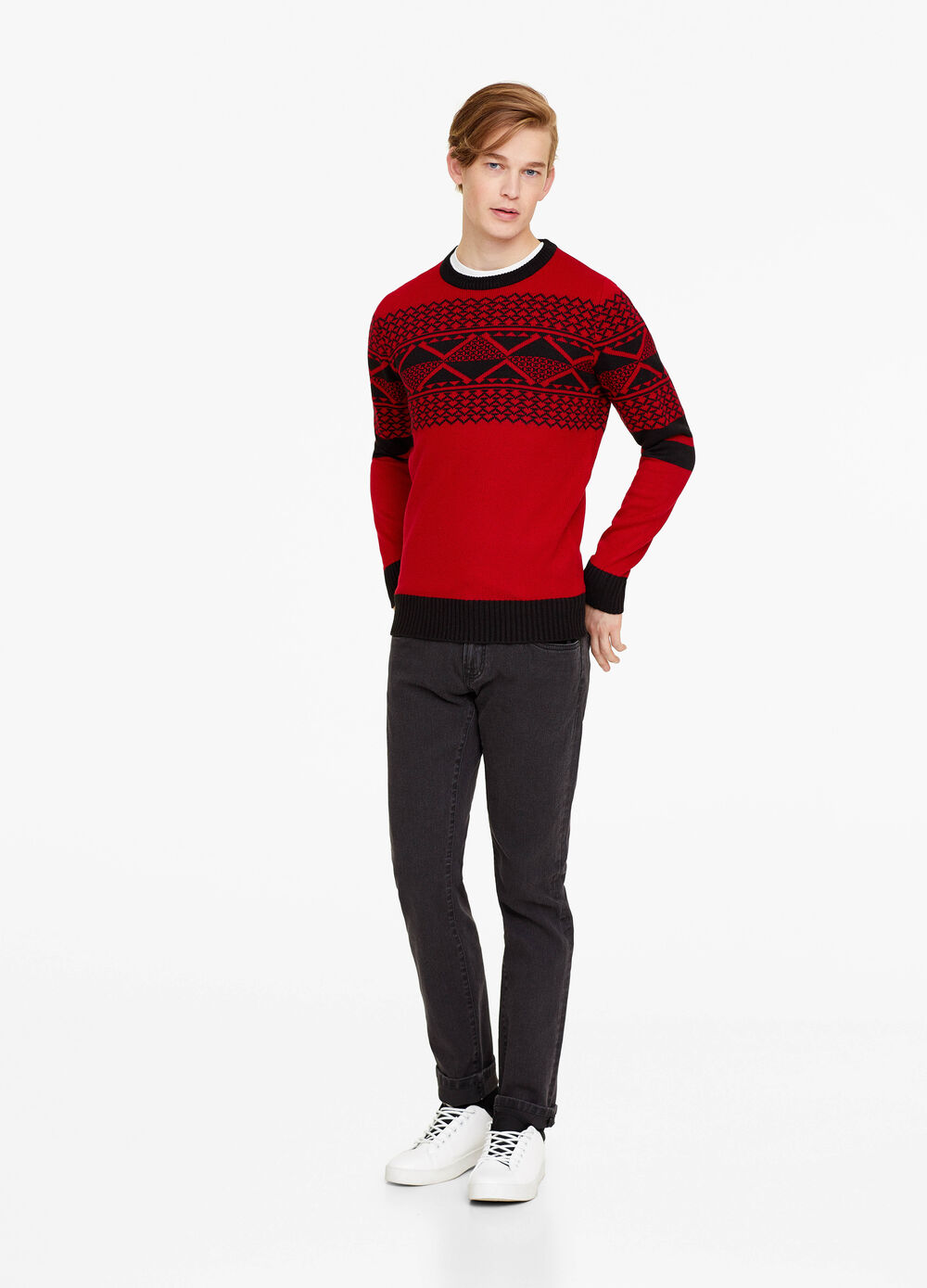 Pullover with geometric embroidery