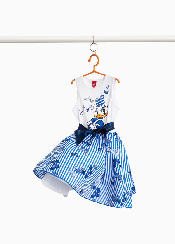 Striped pattern stretch dress with Daisy Duck print