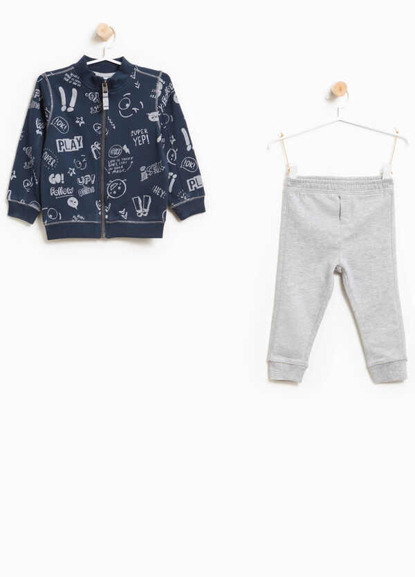 Lettering patterned tracksuit in 100% cotton