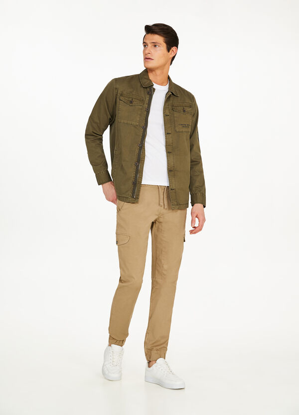 Stretch cargo trousers with drawstring