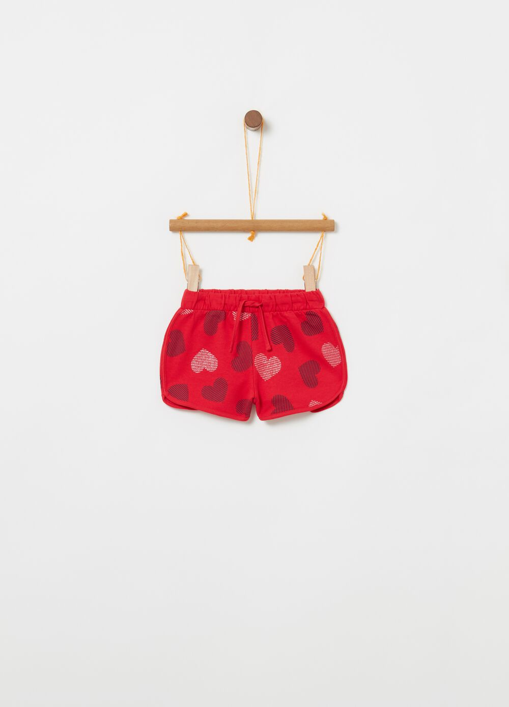Cotton shorts with all-over hearts print