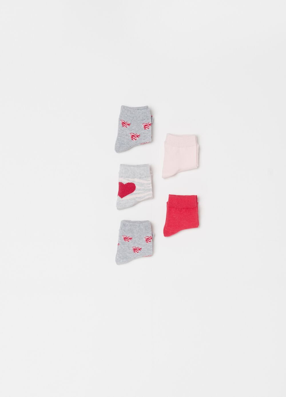 Five-pair pack short socks with print and pattern