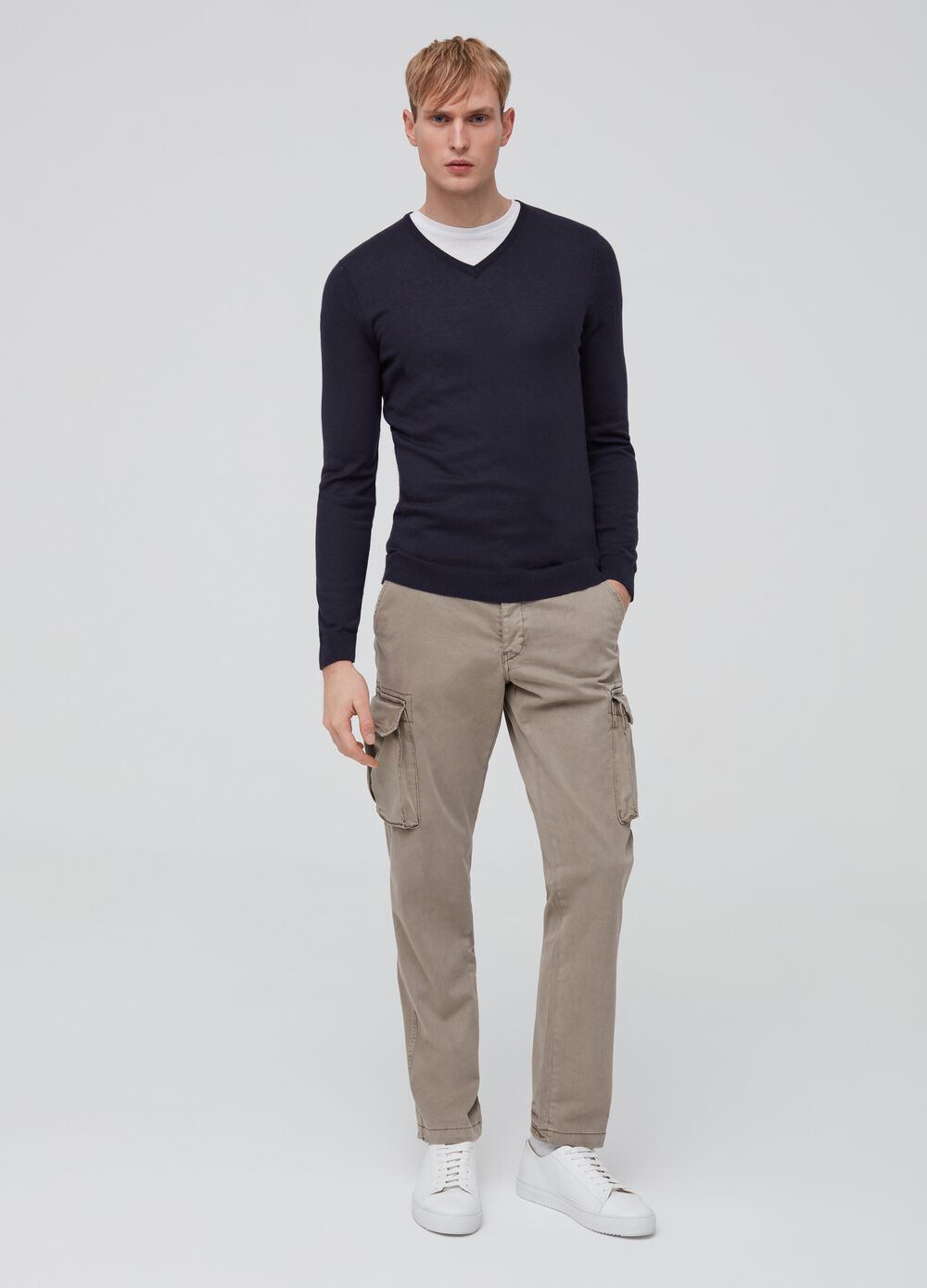 Solid colour cargo chino trousers