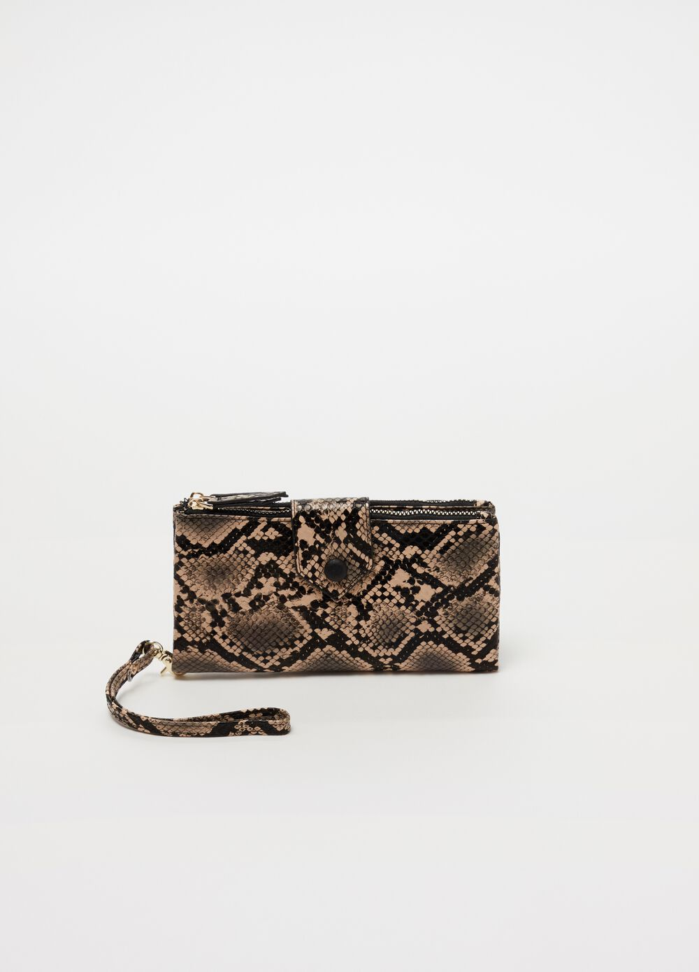Wallet with two compartments and zip