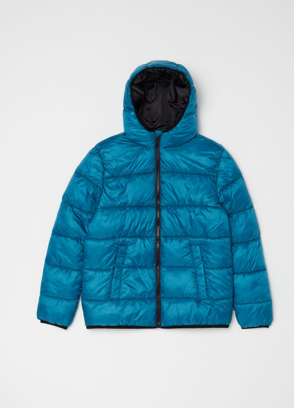 Nylon down jacket with hood and zip
