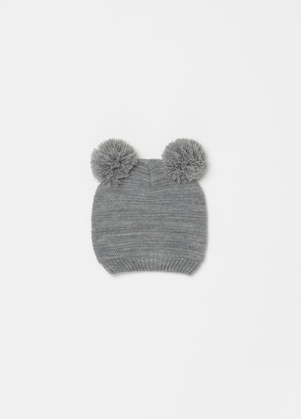 Knitted beanie cap with pompoms