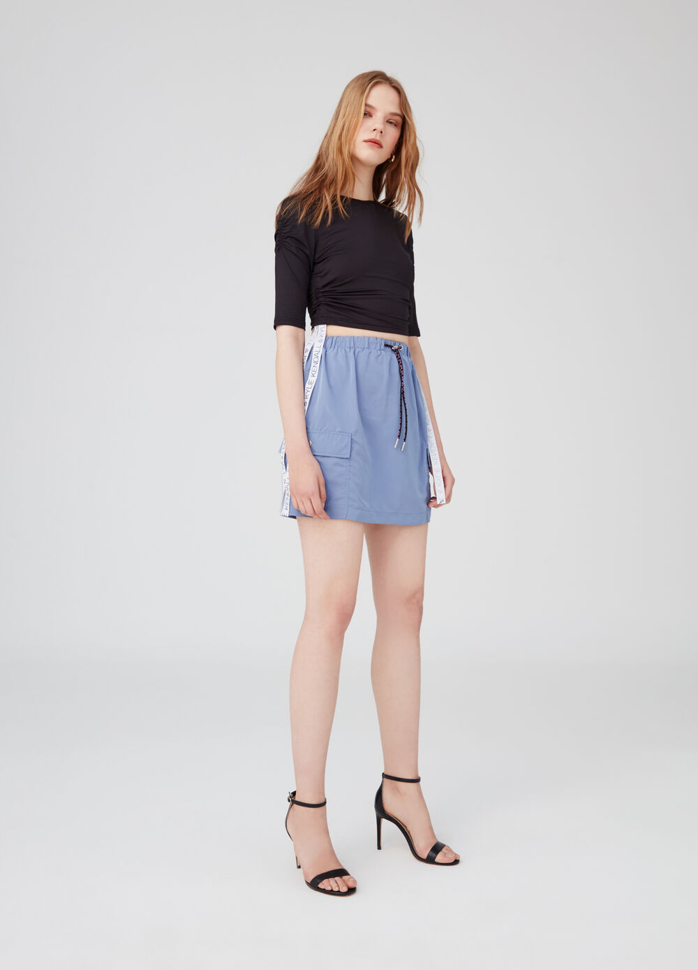 K+K for OVS cropped T-shirt with drawstring