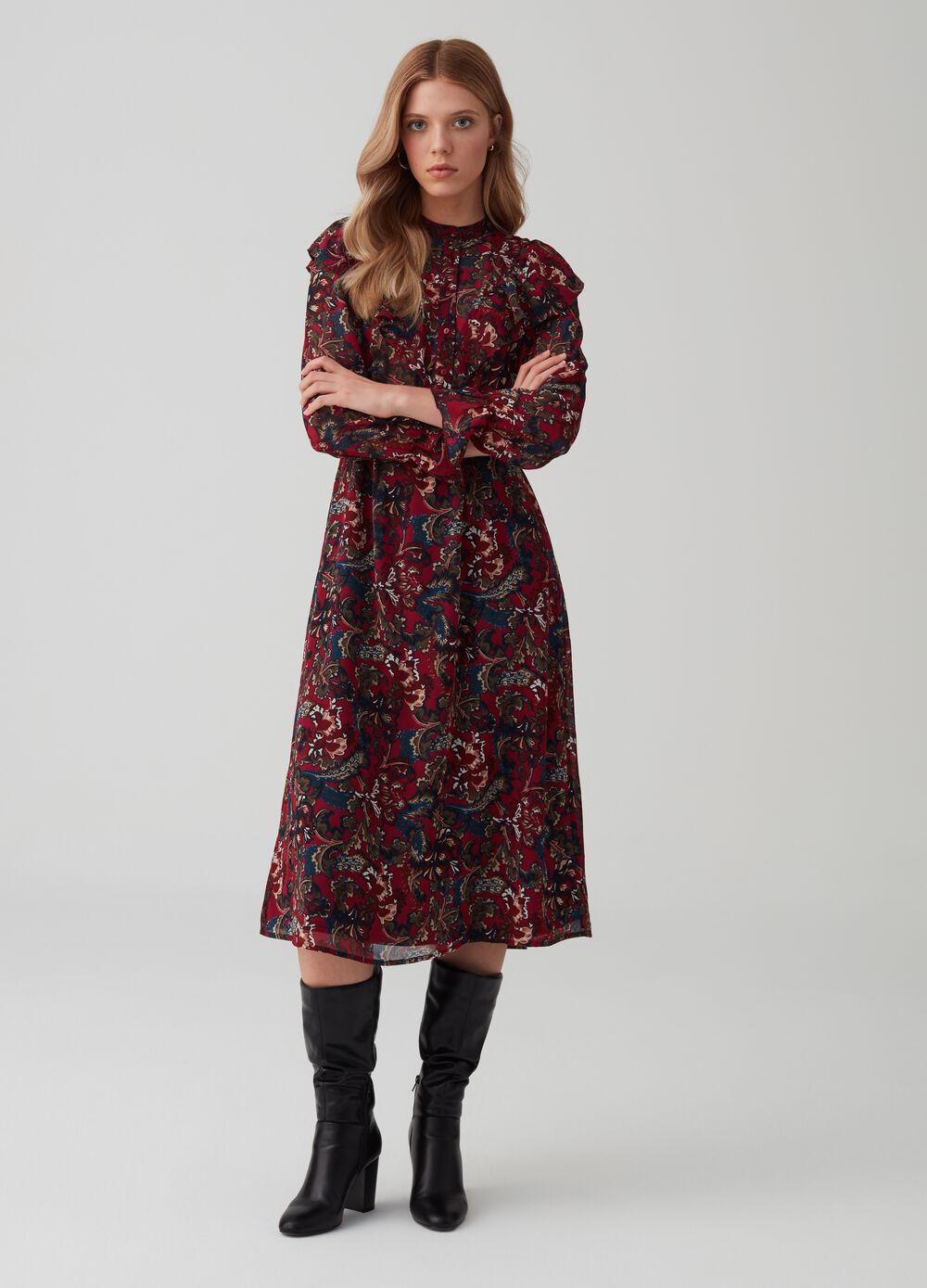 Long georgette dress with flounce