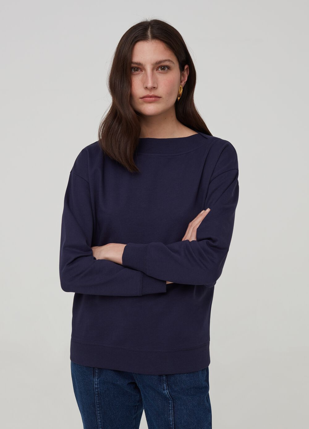 Sweatshirt with boat neck in 100% organic cotton