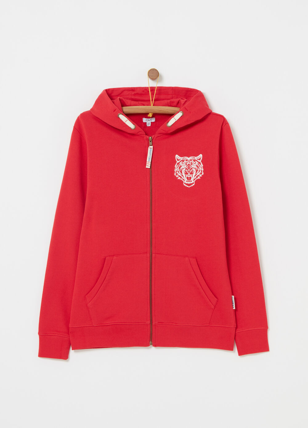 Full-zip sweatshirt with tiger embroidery and ribbing
