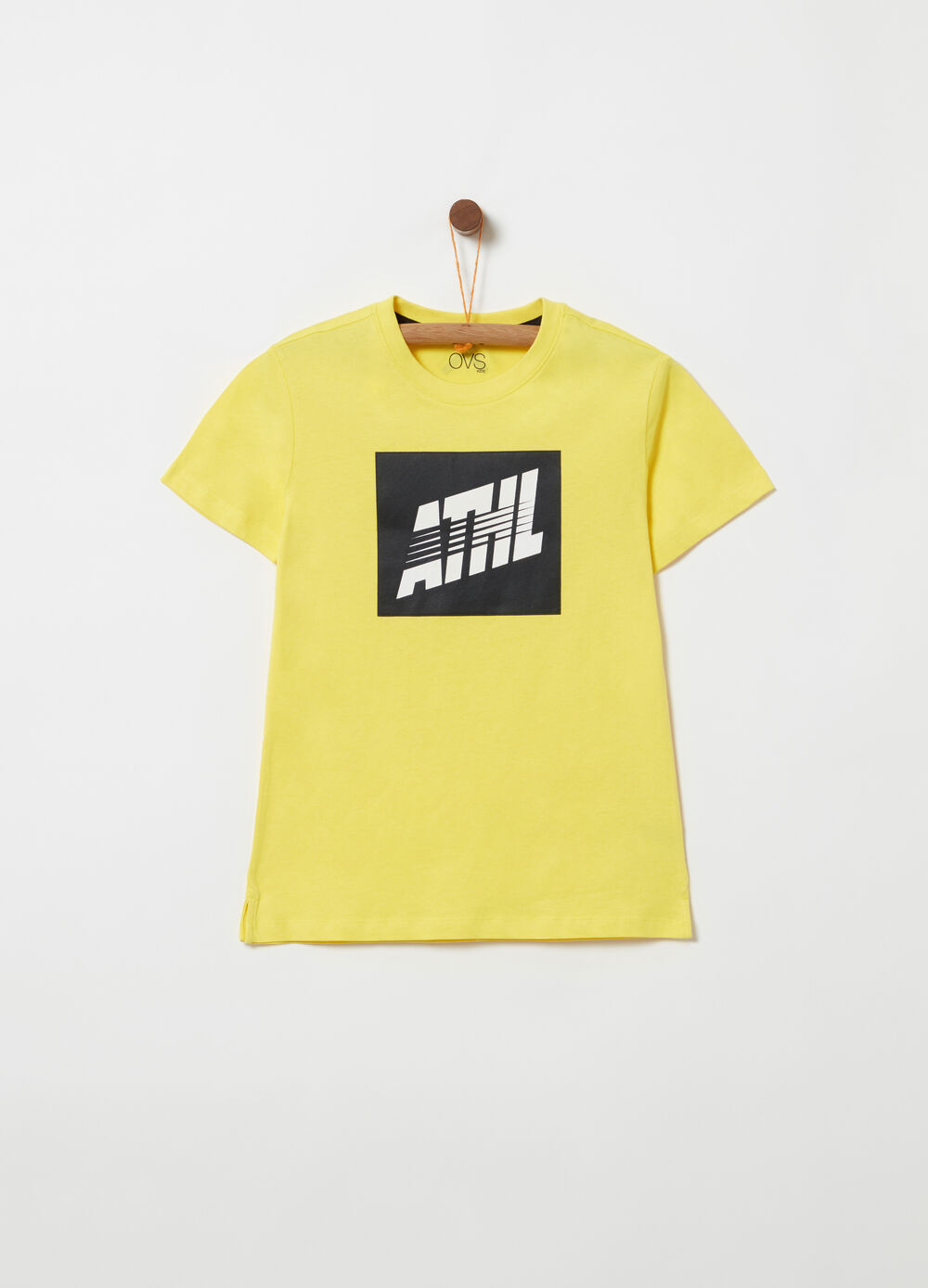 T-shirt with rubber print and splits