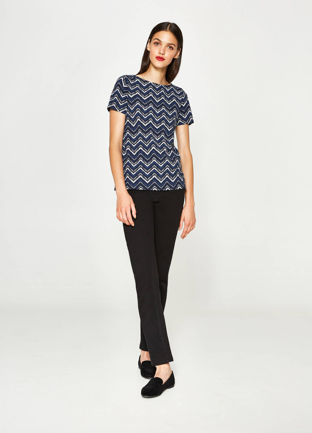Cotton T-shirt with geometric pattern