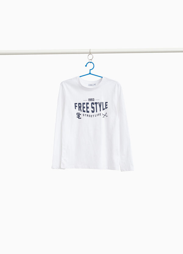 Lettering print cotton T-shirt