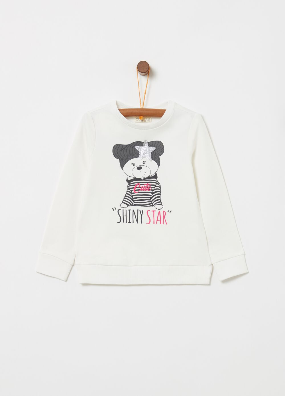 Stretch biocotton sweatshirt with teddy bear print