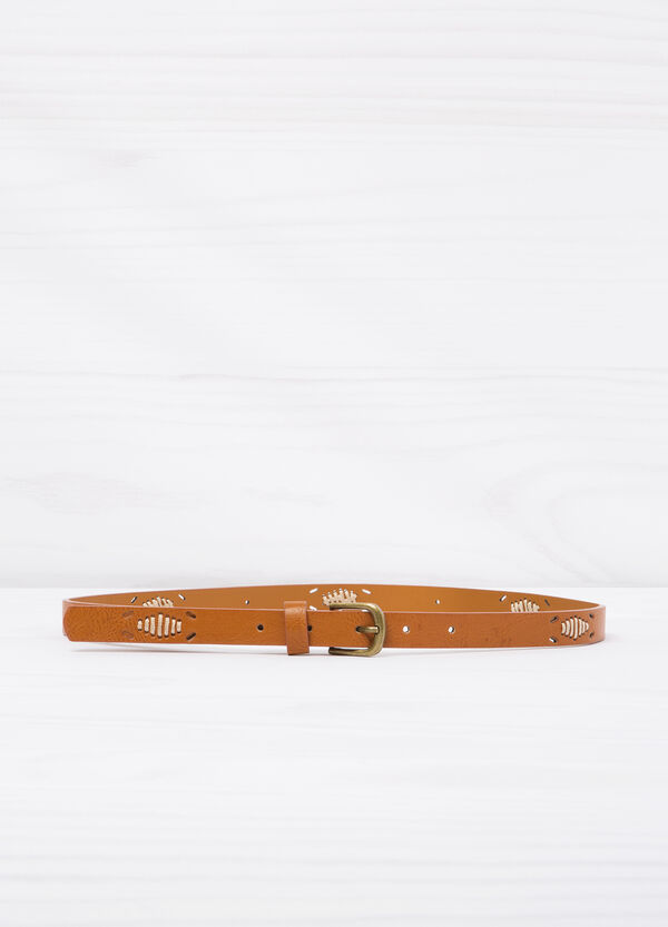 Solid colour leather look belt.   OVS