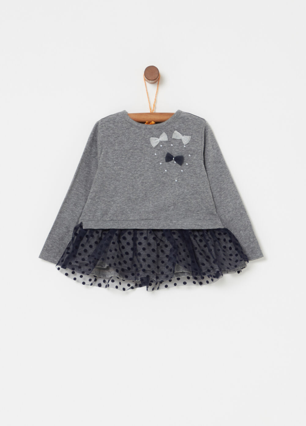 Mélange T-shirt with diamantés and polka dot tulle