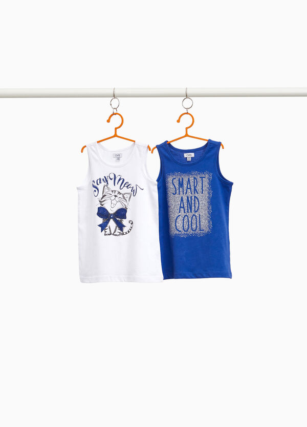 Two-pack cotton tops with glitter print
