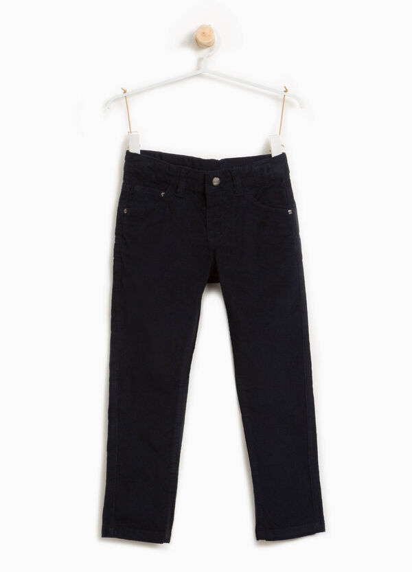 Cotton blend ribbed trousers | OVS