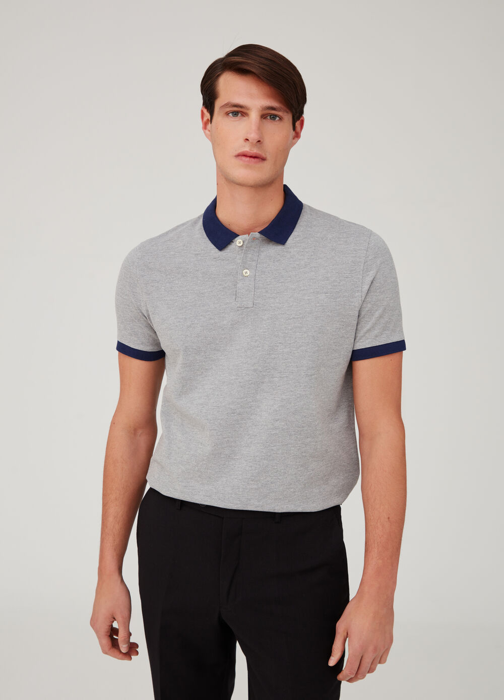 Stretch mélange piquet polo shirt with ribbing