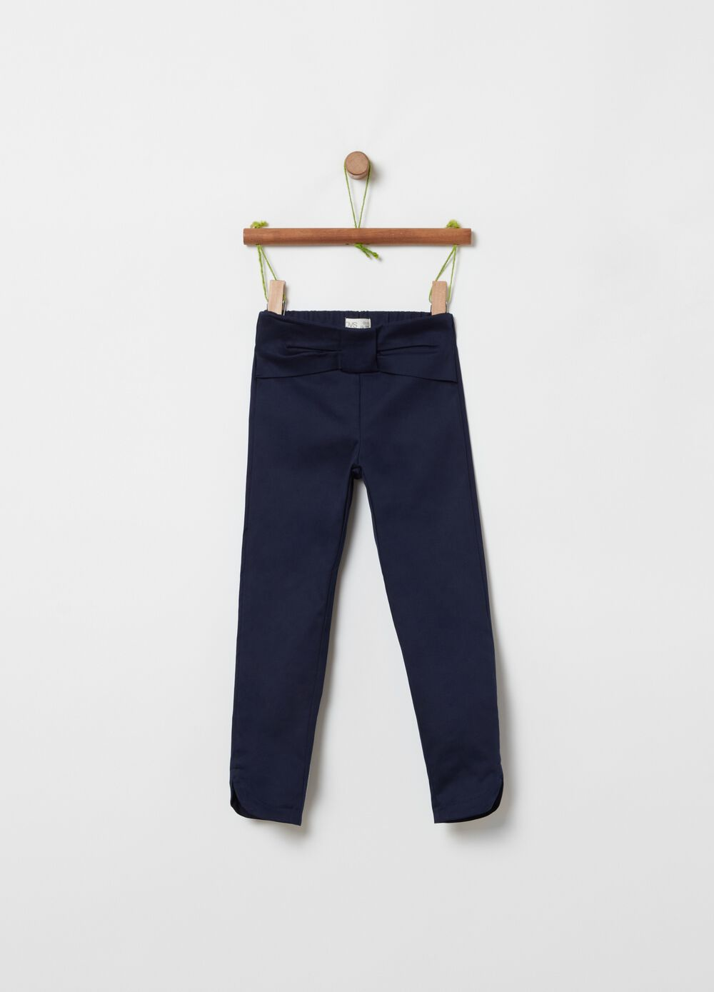 Stretch cotton trousers with maxi bow