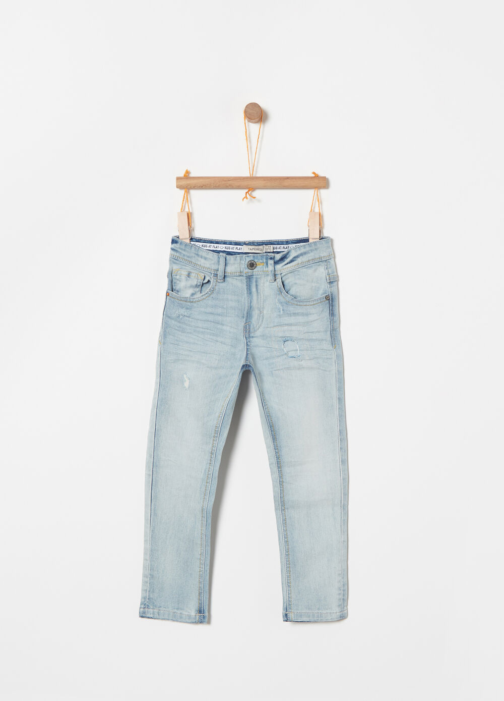 Tapered-fit stretch jeans with five pockets