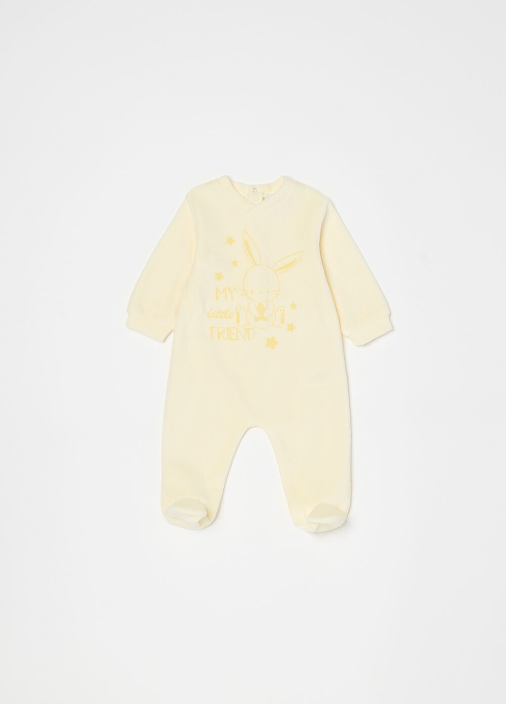 Onesie with feet, V-neck and print