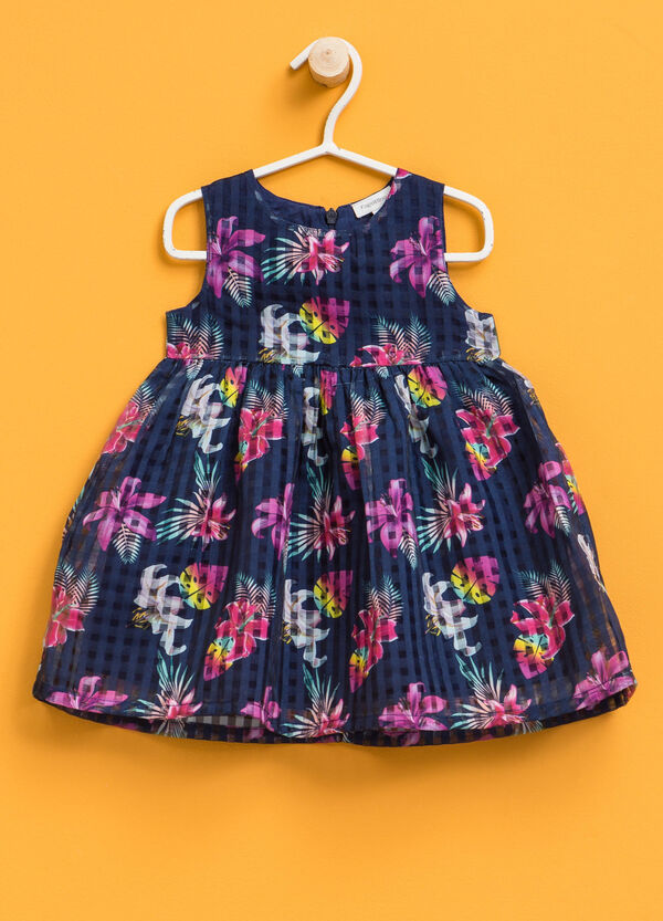 Sleeveless dress with floral pattern