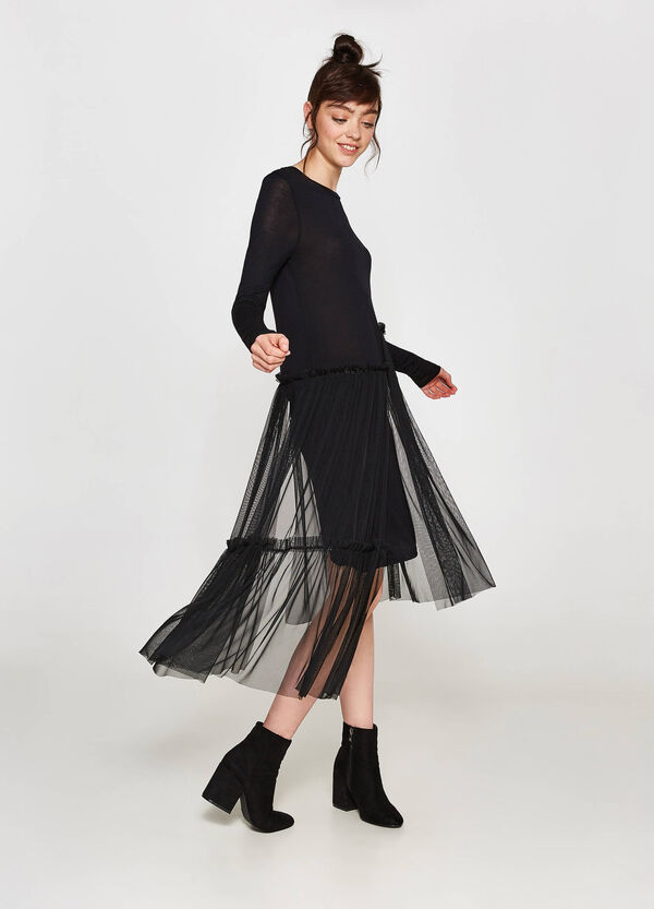 Dress in 100% viscose with tulle | OVS