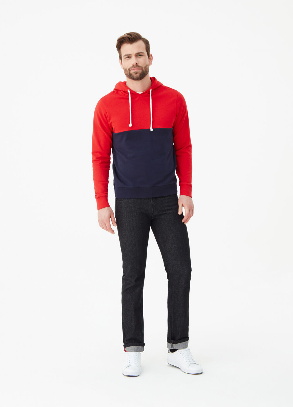 Two-tone cotton sweatshirt with hood