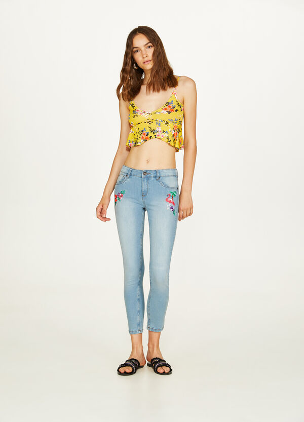 Skinny-fit stretch jeans with embroidery
