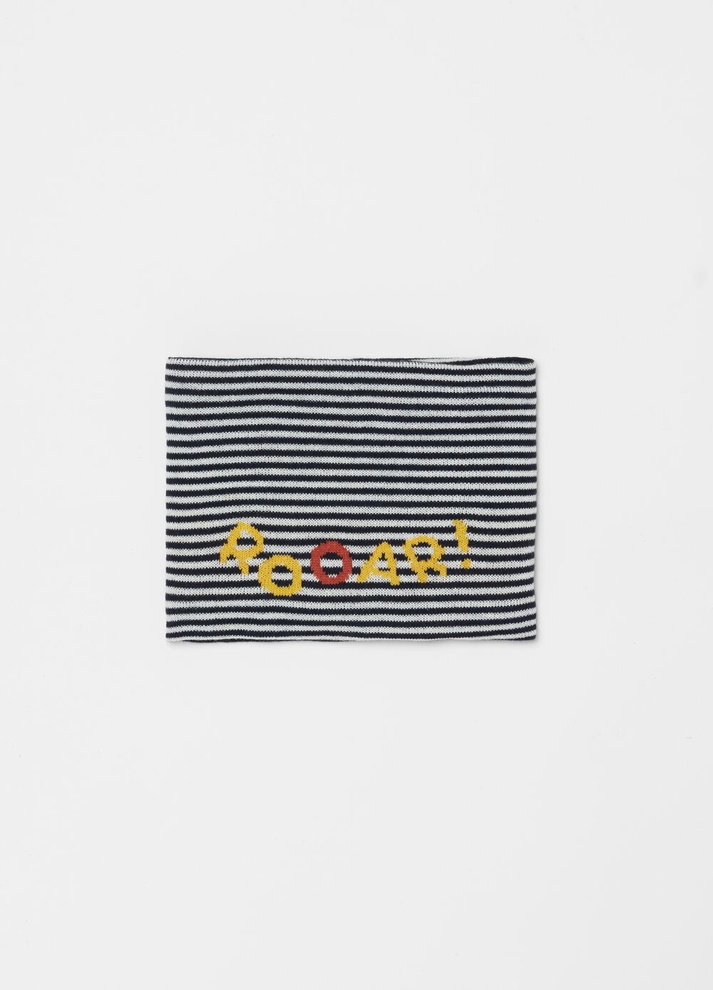 Knitted neck warmer with stripes and print