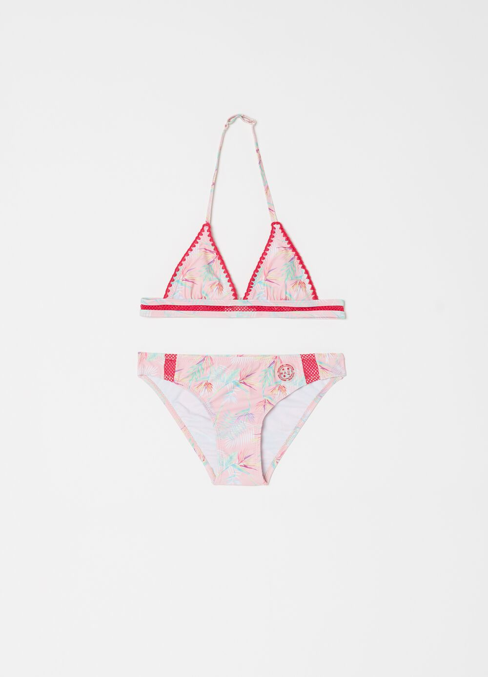 Triangle bikini top and briefs with foliage by Maui and Sons