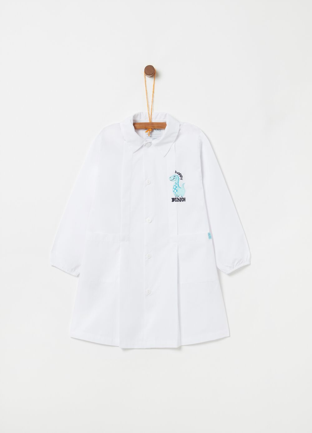 Smock with dinosaur embroidery and pockets
