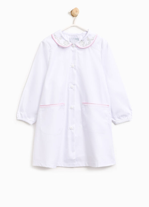 Cotton blend smock with diamantés and beads | OVS