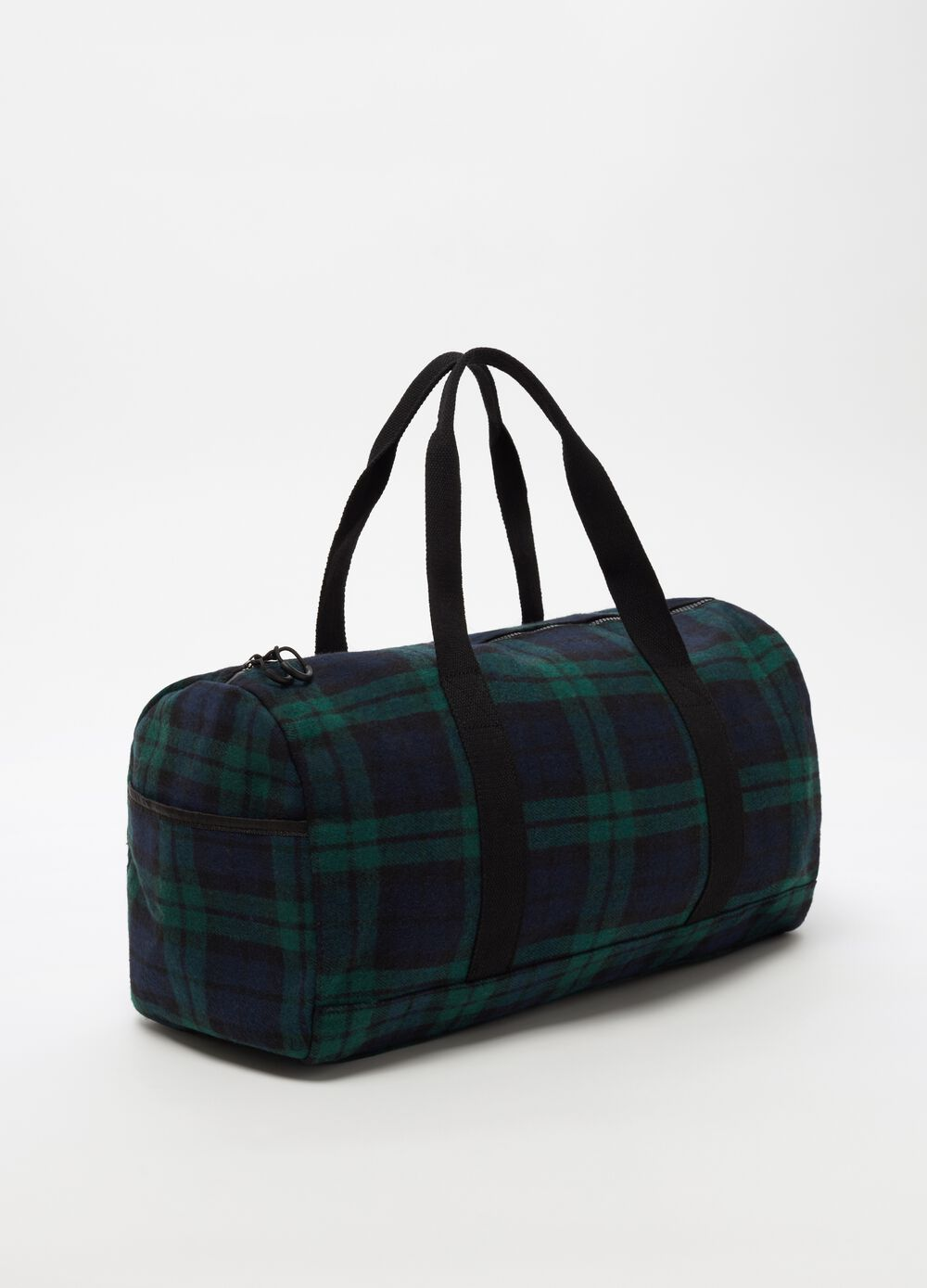 Large bag with zip and check pattern