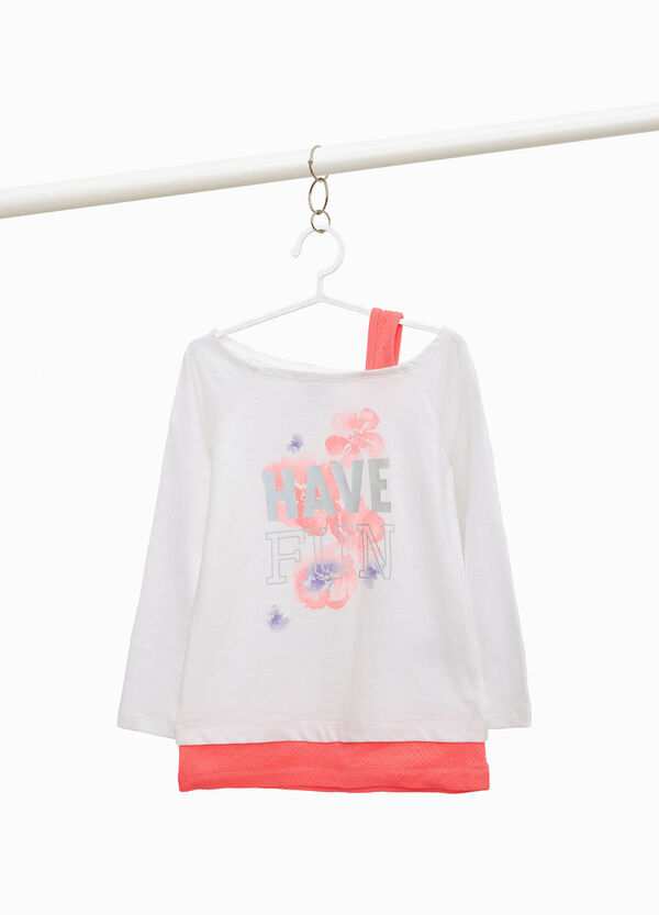 Stretch cotton T-shirt with glossy print
