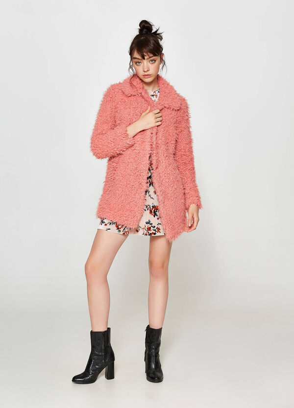 Faux fur coat with collar | OVS