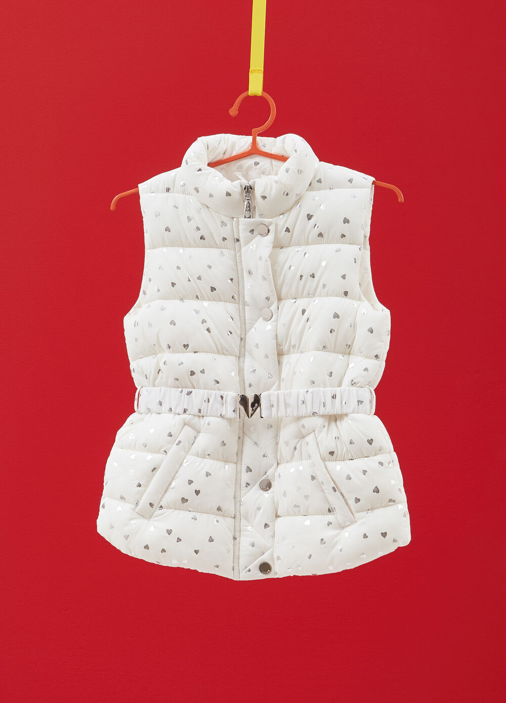 Gilet with high collar and all-over heart print