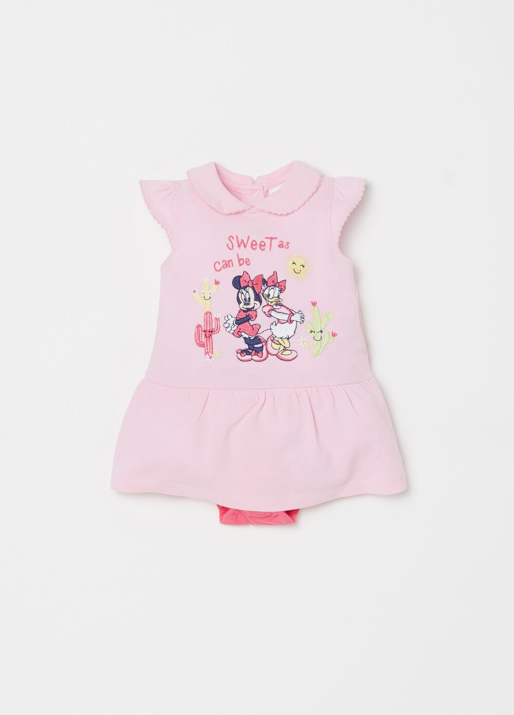 Cotton romper suit with Disney Baby embroidered