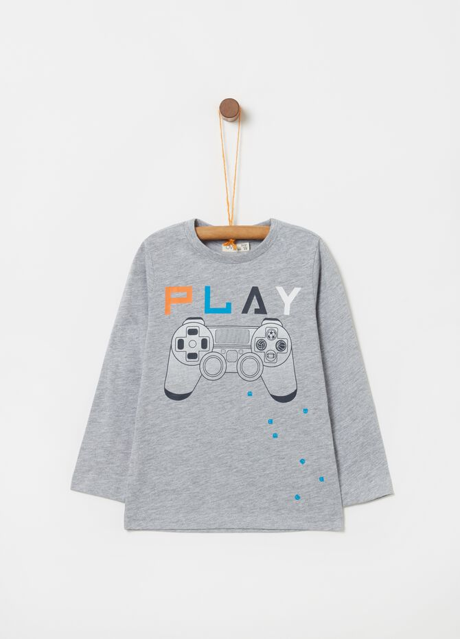 T-shirt with Playstation print and long sleeves