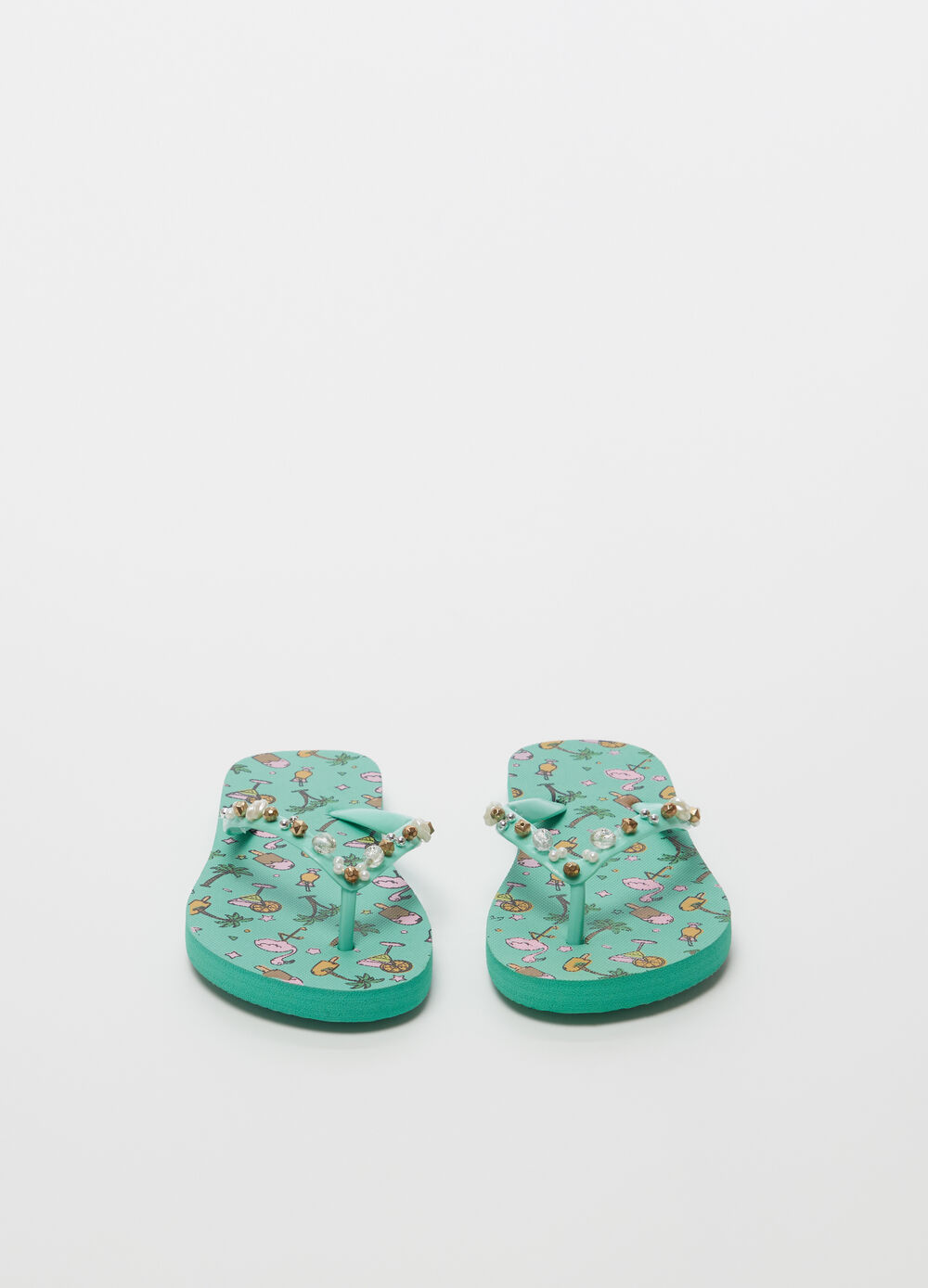 Thong sandals with beads and patterned sole