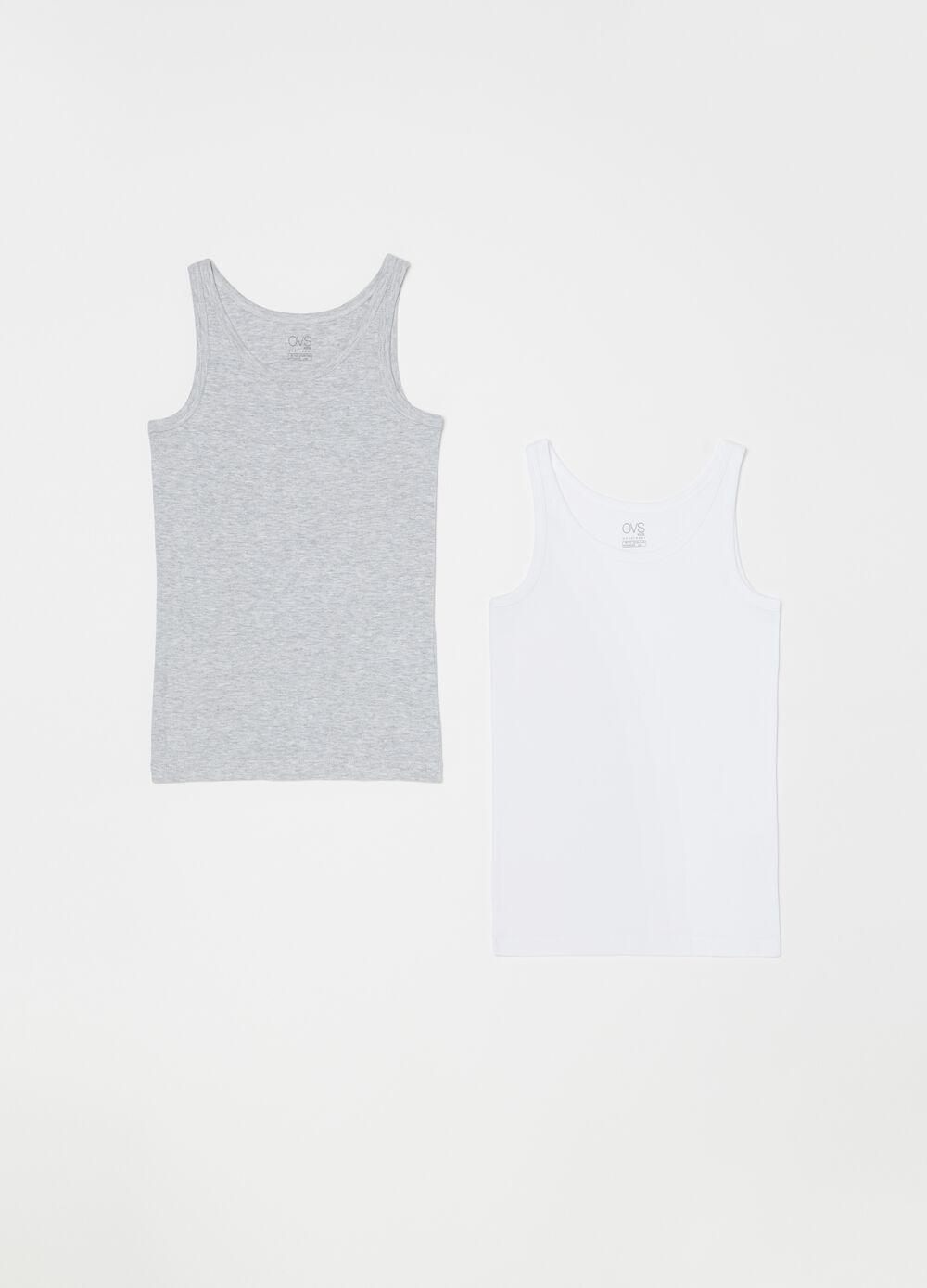 Set of two biocotton vests with ribbing