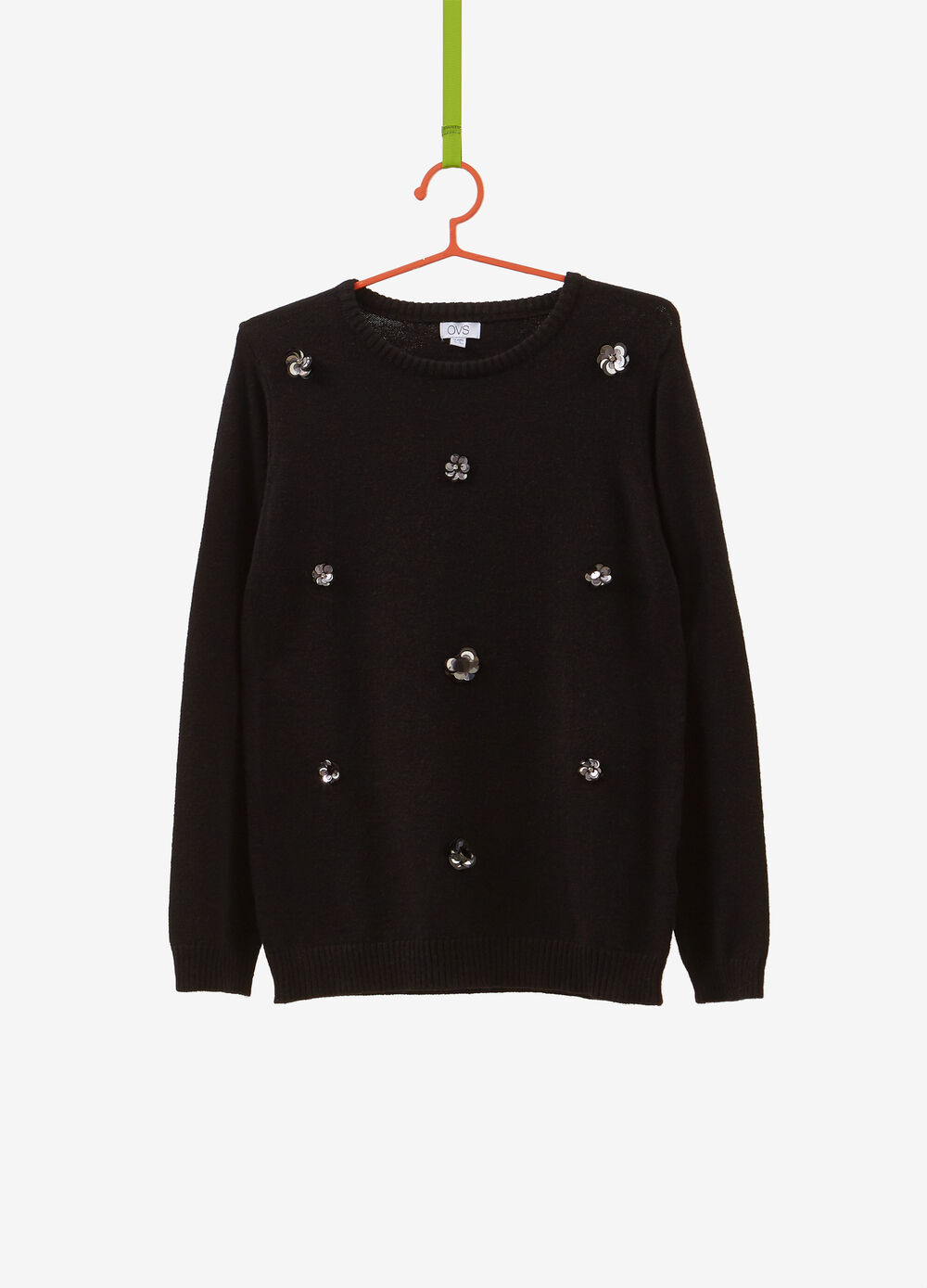 Viscose blend pullover with sequinned flowers