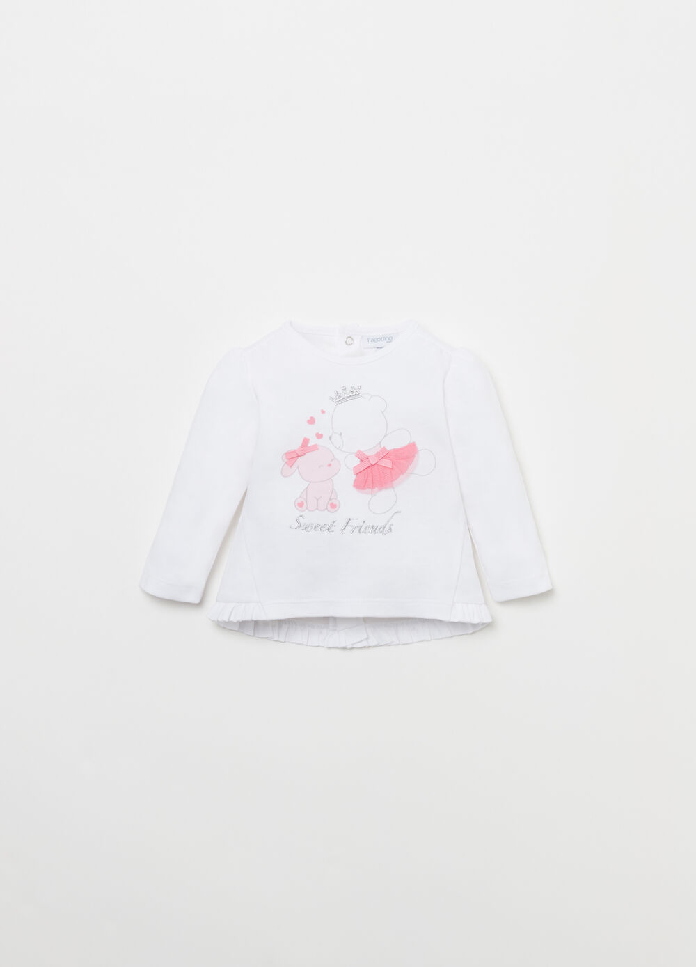 BCI cotton T-shirt with frills and print