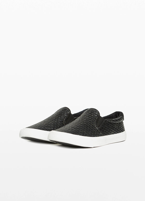 Slip-on with knitted-effect upper