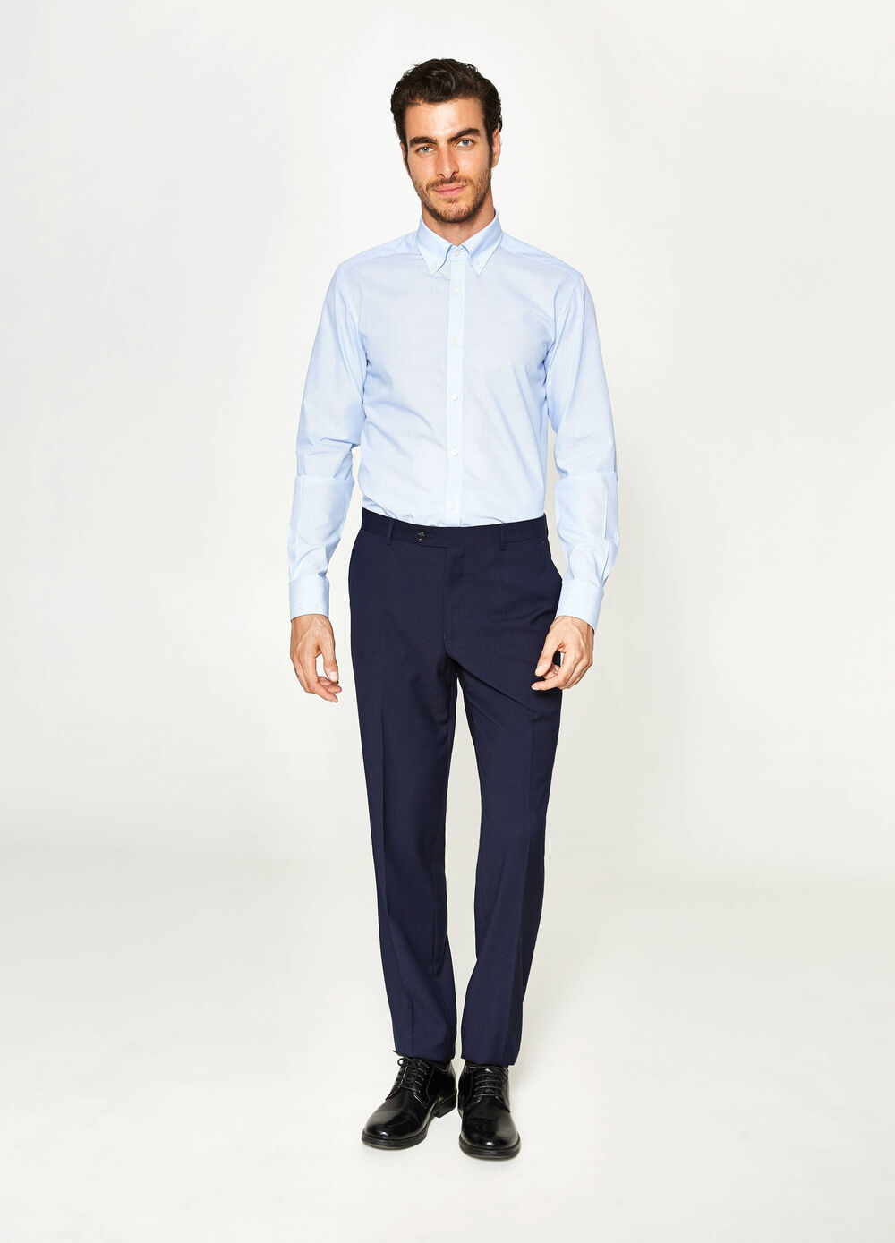 Regular-fit elegant viscose trousers