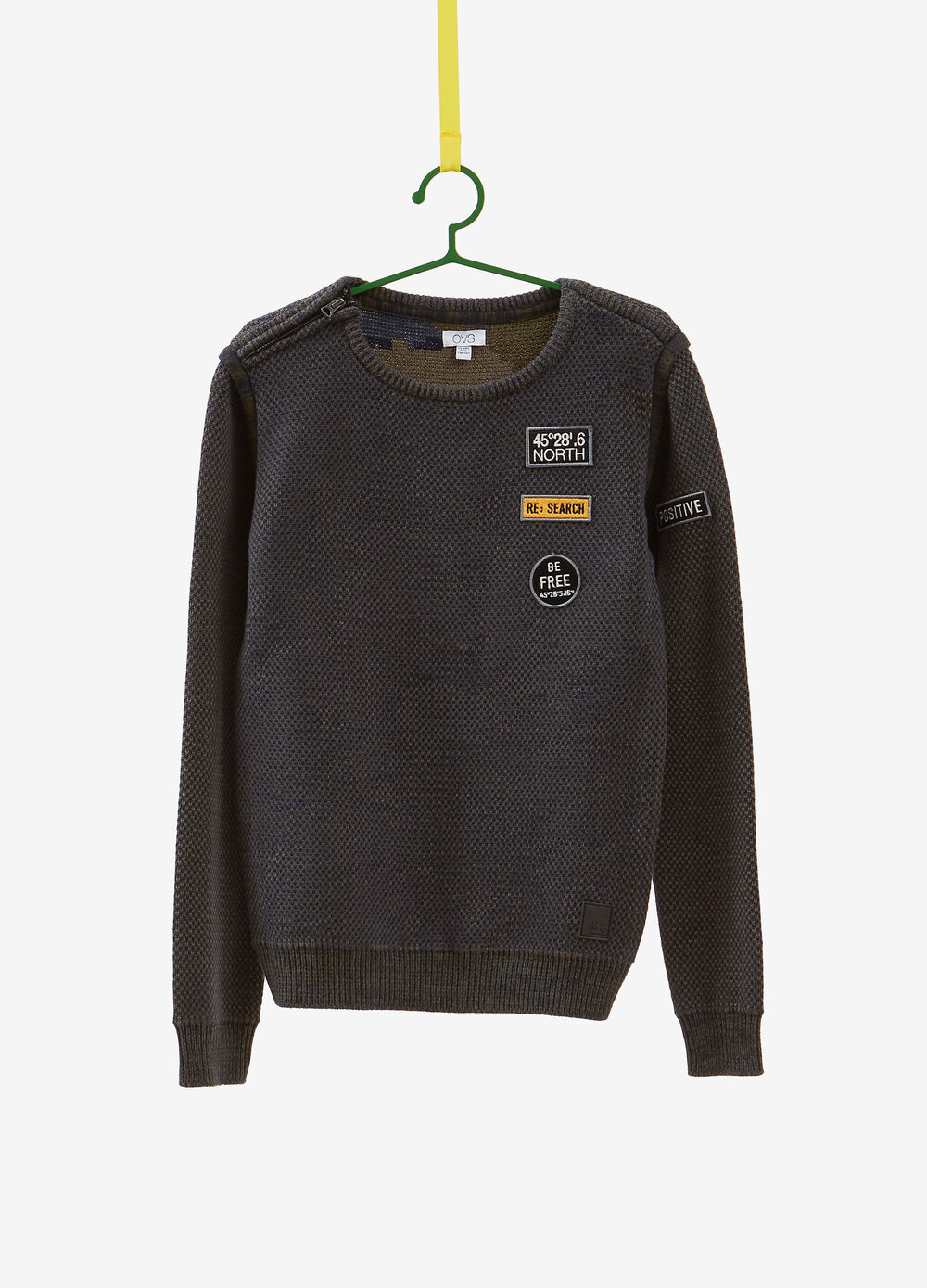 Cotton knit pullover with zip